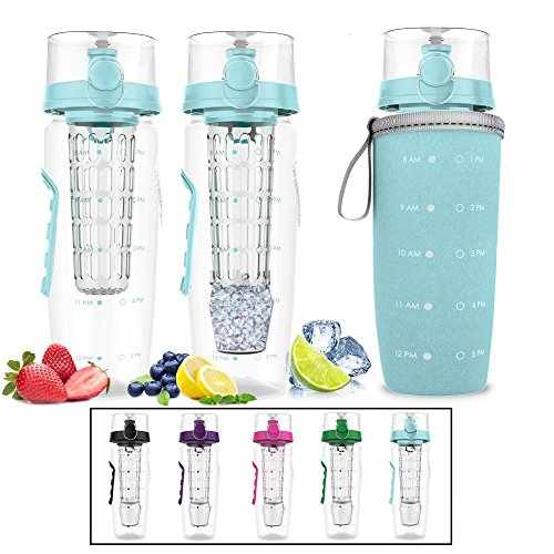 b5c4b6b998 Bevgo Infuser Water Bottle – Large 32oz - Hydration Timeline Tracker –  Detachable Ice Gel Ball With Flip Top Lid - Save Money - Multiple Colors  with Recipe ...